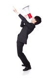 Business man shouting into a megaphone. Young business man shouting into a megaphone and finger point to up forward in full length isolated over a white Stock Images