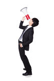 Business man shouting into a megaphone Royalty Free Stock Photography