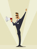 Business man shouting in megaphone. Stock Image