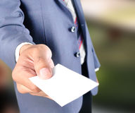 Business man show blank card Stock Image