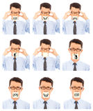 Business man show different negative facial expression Royalty Free Stock Photo