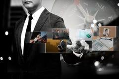 Business man show digital photo album Stock Photos