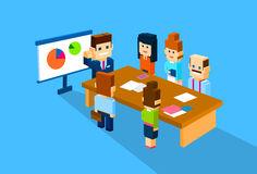 Business Man Show Graph Businesspeople Group Conference Meeting. 3d Isometric Flat Design Vector Illustration Stock Image