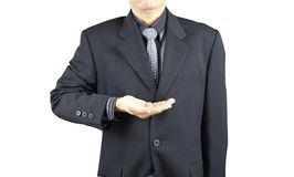 Business man show in his hand stock photography