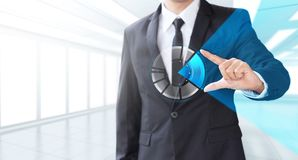 Business man show increase market share. Growth of profit stock photos