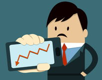 Business Man Show Smart Phone ,down arrow. Businessman with smart phone. Showing Smart Phone arrow down Royalty Free Stock Photos