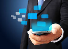Business man show smart phone Stock Photo