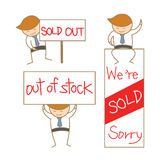 Business man show sold out sign set Royalty Free Stock Photography