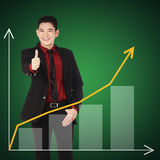 Business man show thumbs up. Business success concept Royalty Free Stock Photo
