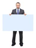 Business man showing. Blank signboard, isolated on white background Stock Images