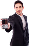 Business Man Showing A Mobile Phone Stock Photos