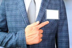 The business man showing a  Blank Badge Royalty Free Stock Image