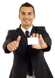 Business man showing a blank business card stock images