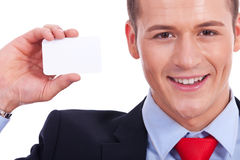 Business man showing a blank business card Royalty Free Stock Photos