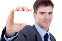 Business man showing a blank card Stock Photo