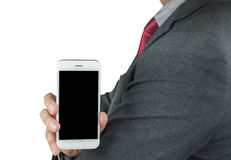 Business man showing a blank phone screen Royalty Free Stock Photography
