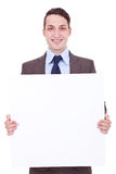 Business man showing blank signboard Royalty Free Stock Images
