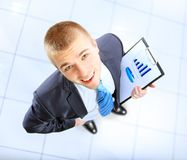 Business man showing blank signboard Stock Images