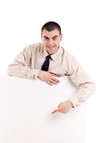 Business man showing blank signboard Stock Image