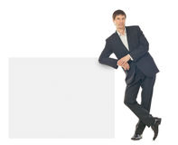 Business man showing blank signboard Royalty Free Stock Photography