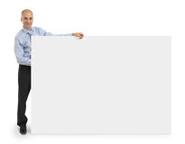 Business man showing blank signboard Royalty Free Stock Photo