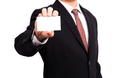 Business man. Showing business card Royalty Free Stock Image