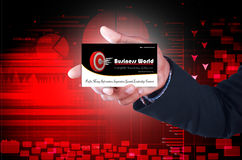 Business man showing business card Stock Photos