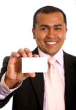 Business man showing a card Stock Photo