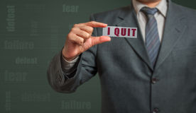 Business man showing card with text - I quit Stock Photos