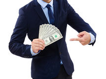 Business Man showing cash Stock Photo