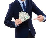 Business Man showing cash Stock Photo