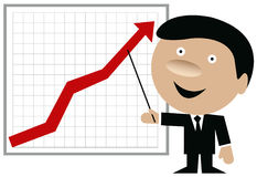 Business man showing chart with arrow going up. Business man with pointing stick showing chart on a whiteboard with red arrow going up Stock Image