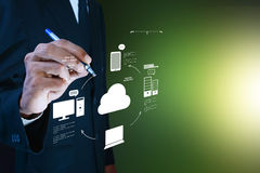 Business man showing concept of cloud computing royalty free stock photos
