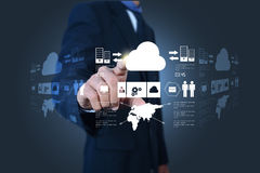 Business man showing concept of cloud computing Stock Image