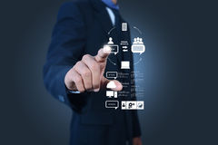 Business man showing concept of cloud computing. Stock Image