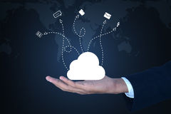 Business man showing concept of cloud computing. Royalty Free Stock Photo