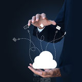 Business man showing concept of cloud computing. Stock Images