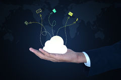 Business man showing concept of cloud computing. Royalty Free Stock Photography