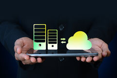Business man showing concept of cloud computing Stock Photo
