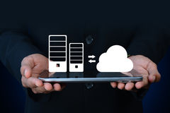 Business man showing concept of cloud computing Stock Photography