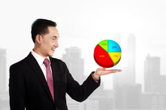 Business Man Showing Digital Chart Royalty Free Stock Photo