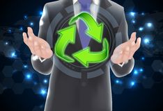 Business man showing eco icon arrow Royalty Free Stock Image
