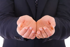 Businessman showing empty hands. Royalty Free Stock Photos