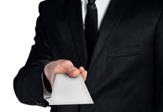 Business man showing empty note Stock Photo