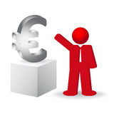 Business man showing the euro sign. Illustration Royalty Free Stock Images