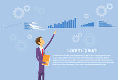 Business Man Showing Finance Chart Graph Flat. Vector Illustration Royalty Free Stock Photos