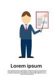 Business Man Showing Finance Chart Graph. Flat Vector Illustration Royalty Free Stock Photos
