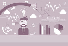 Business Man Showing Finance Chart Graph Infographic Royalty Free Stock Photo