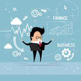 Business Man Showing Finance Chart Graph Report. Vector Illustration Stock Photography