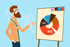 Business Man Showing Financial Pie Diagram Finance Growth Royalty Free Stock Photos